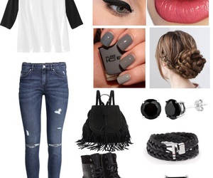 book bag, jeans, and nails image