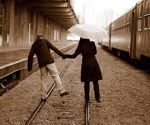 train, love, and sepia image