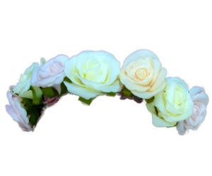 flower crown, transparent, and pale blue image