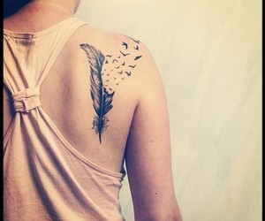 tattoo, feather, and birds image