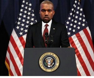 funny, kanye west, and president image