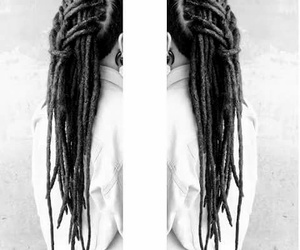 b&w, dreads, and braids image