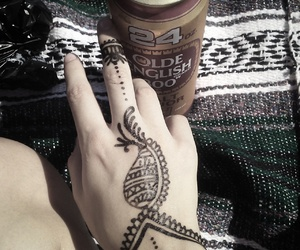 alcohol, henna tattoo, and olde english 800 image