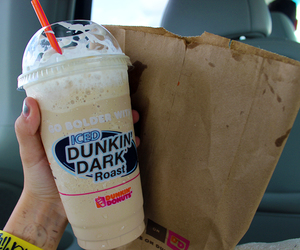 drink, dunkin donuts, and food image