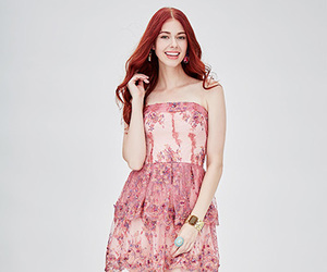 floral, pink, and strapless image