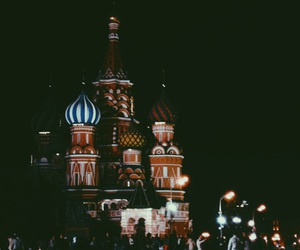 moscow, night, and travel image
