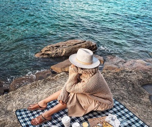 girl, picnic, and ocean image