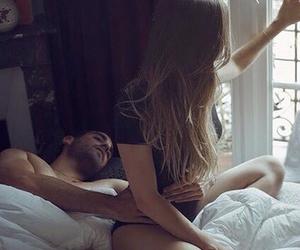 bed, hug, and couple image