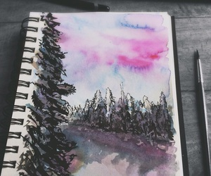 forest, watercolor, and forest painting image