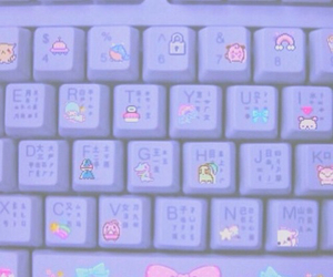 pastel, purple, and keyboard image