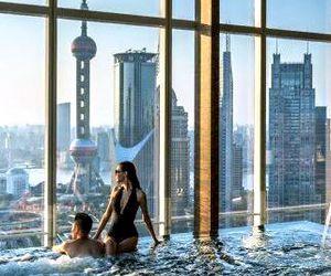 couple, luxury, and pool image