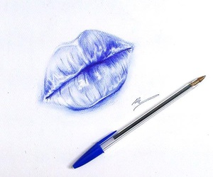 art, ballpoint, and blue image