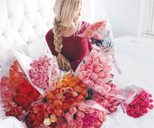 blonde, braid, and roses image