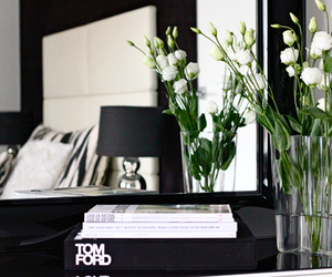 flowers, interior, and black image