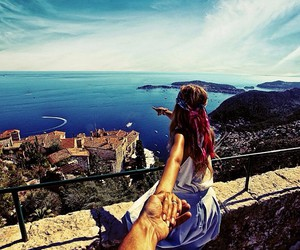 travel, follow me, and couple image