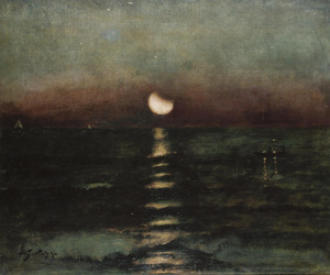 art, moonlight, and painting image