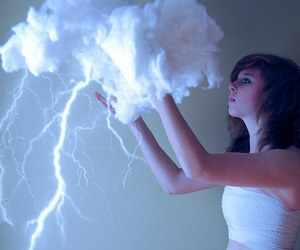 girl, clouds, and thunder image