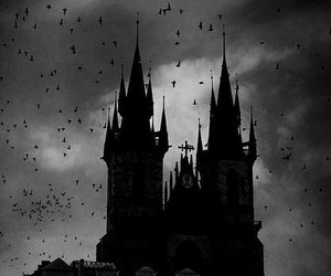 dark, black and white, and castle image
