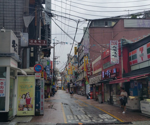 city, korea, and rain image