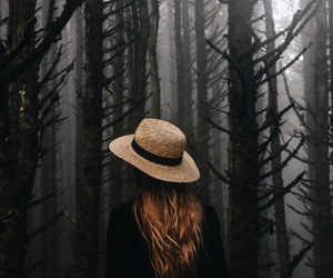 girl, forest, and dark image