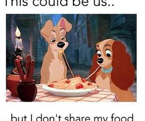 food, lady and the tramp, and funny image