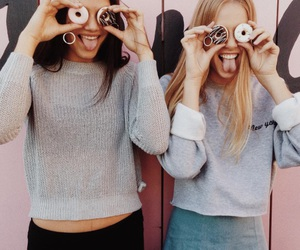 friends, girl, and donuts image