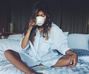 girl, coffee, and bed image