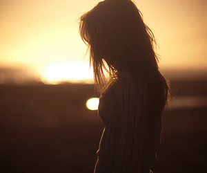 girl, alone, and sunset image