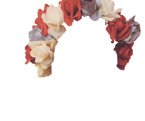 red, white, and flowercrown image