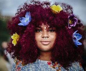 Afro, flowers, and afropunk image