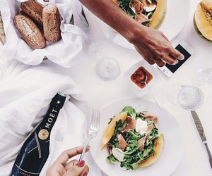 champagne, food, and healthy image