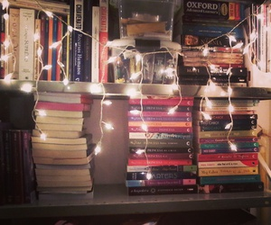books, bookshelf, and lights image
