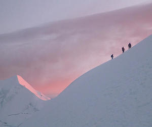 snow, pink, and mountains image