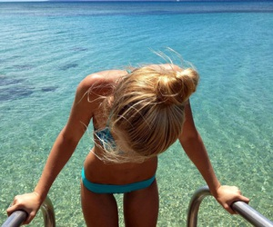 summer, blonde, and beach image