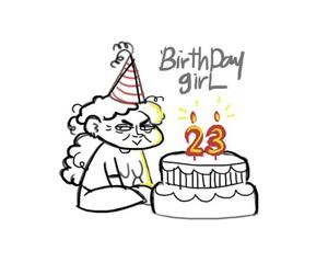 art, birthday girl, and birthday cake image