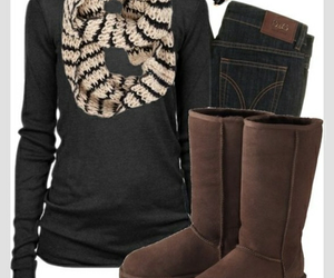 outfit, scarf, and boots image