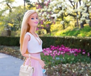 barbie, flowers, and pink image