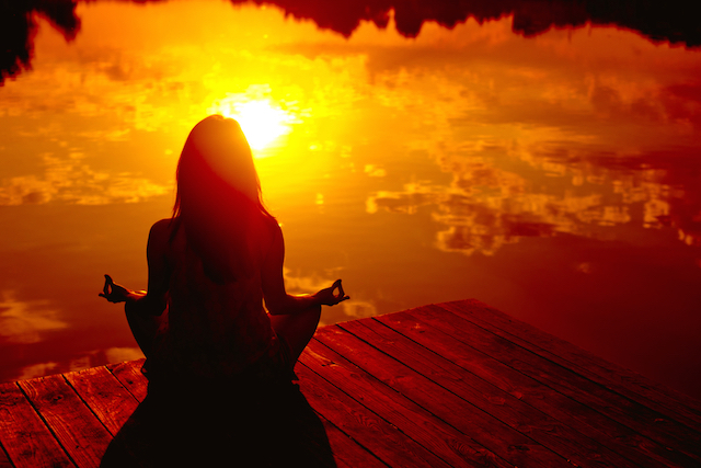 meditation, peace, and sunset image