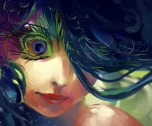 anime, colorful, and peacock image