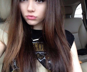 brunette, pretty, and girl image