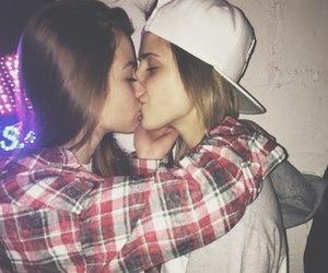 lesbian, couple, and kiss image