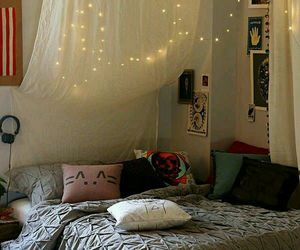 bed, fairy lights, and lighting image