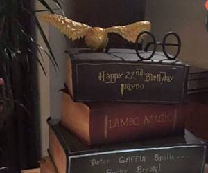 birthday cake, harry potter, and old book image