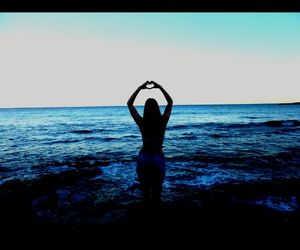 beach, holiday, and heart image