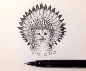 art, owl, and sketch image