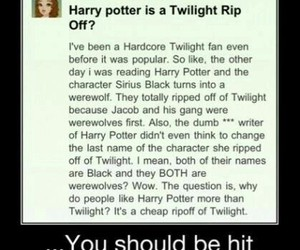 harry potter, twilight, and idiot image