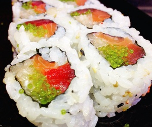 rice, salmon, and sushi image
