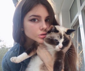 girl, cat, and grunge image