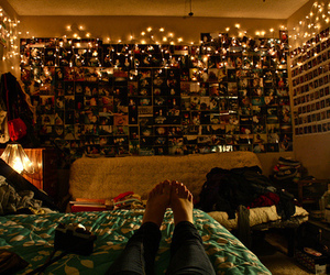 bed, lights, and photography image