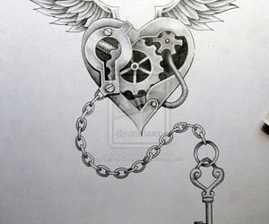 key, tattoo, and heart image